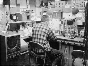Earl Bakken in Medtronic garage_c1955_Medtronic